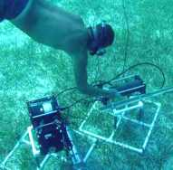 Diver tending submerged instruments
